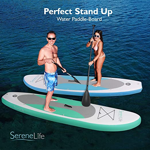 serenelife hinchable Stand Up Paddle Board (6 cm de grosor) Universal Sup amplia Stance W/parte inferior Fin y la cubierta de Surf Control | antideslizante ...