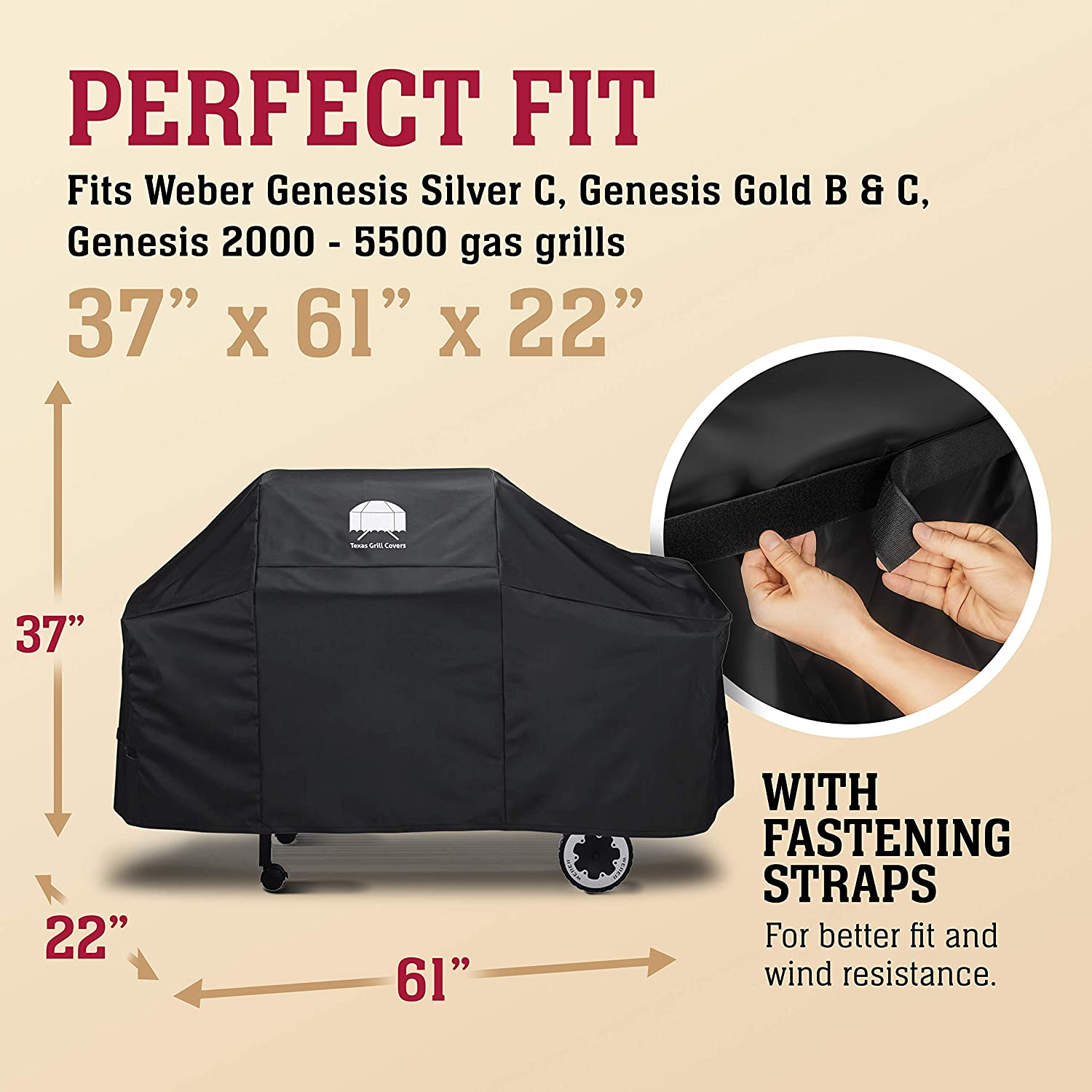 7552 Premium Black Grill Cover Protector Fits For Weber Genesis Gas Grills
