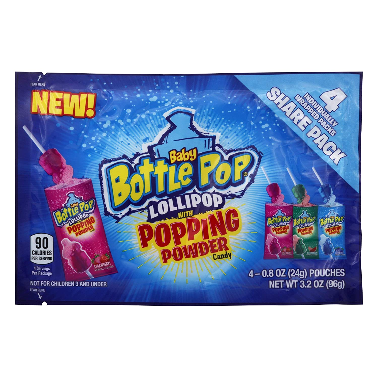 Baby Bottle Pop Candy w/ Popping Powder - Share Packs – Blue Raspberry, Watermelon, Strawberry Flavor (Pack of 12) - Fun Candy for Birthdays & Celebrations