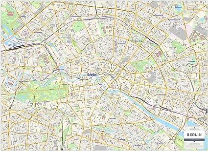 Mapa de la ciudad de Berlín - mapa de pared laminada: Amazon.es: Oficina y papelería