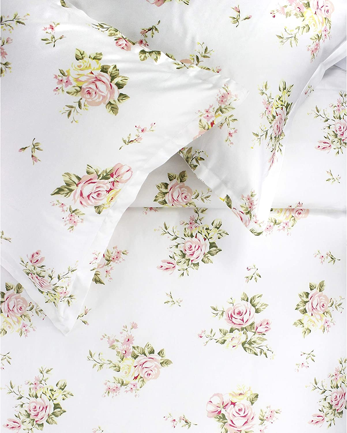 Melange Home Printed Design Cotton Collection 400 Thread Count Rose Bouquet Embroidered Duvet Set Full - Queen