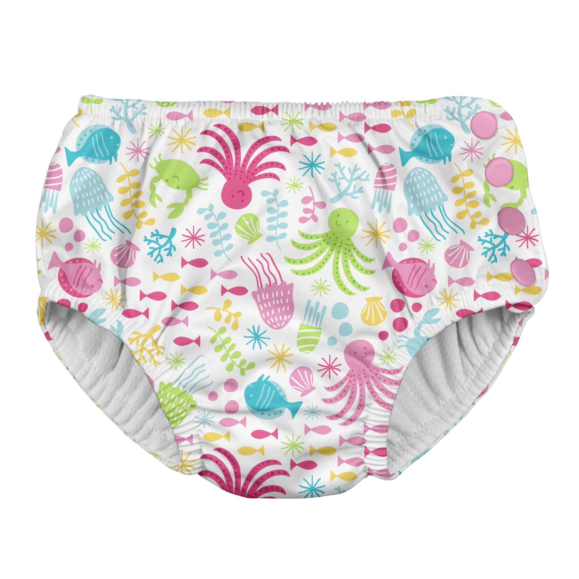 i play. Toddler Girls' Snap Reusable Absorbent Swimsuit Diaper, White Sea Pals, 3T