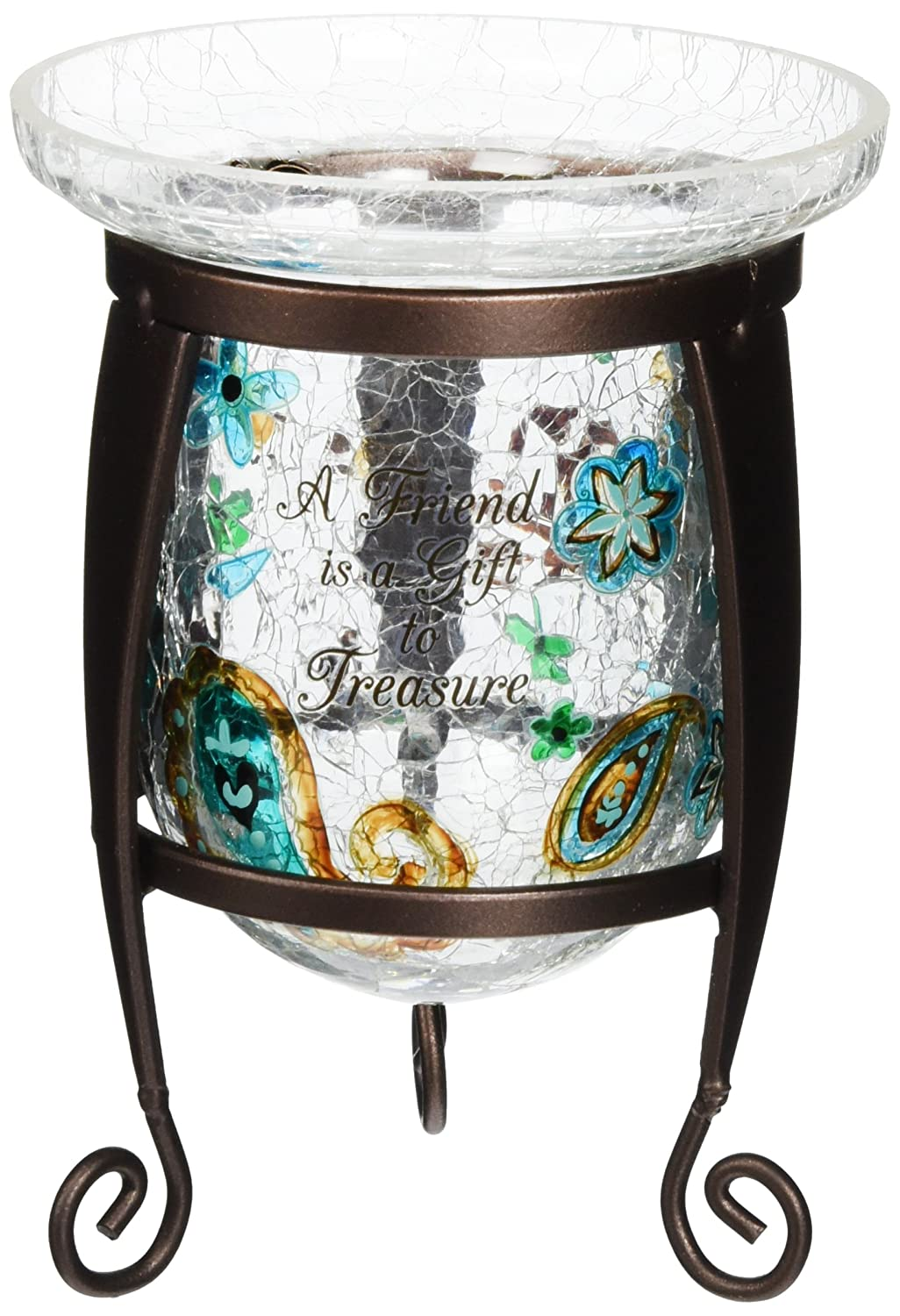 Perfectly Paisley Friend Votive by Pavilion, 4-3/4-Inch Tall, Candle Not Included, Crackled Glass Pavilion Gift Company 76103