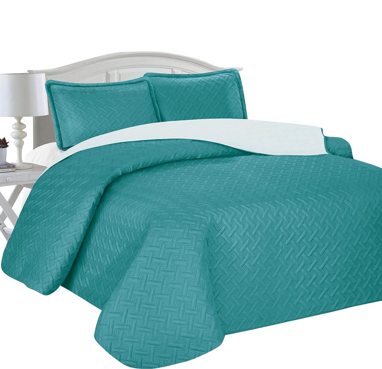 Home Sweet Home Victoria Design Reversible 3 PC Quilt Bedspread Sets (Full/Queen, Teal/Aqua)
