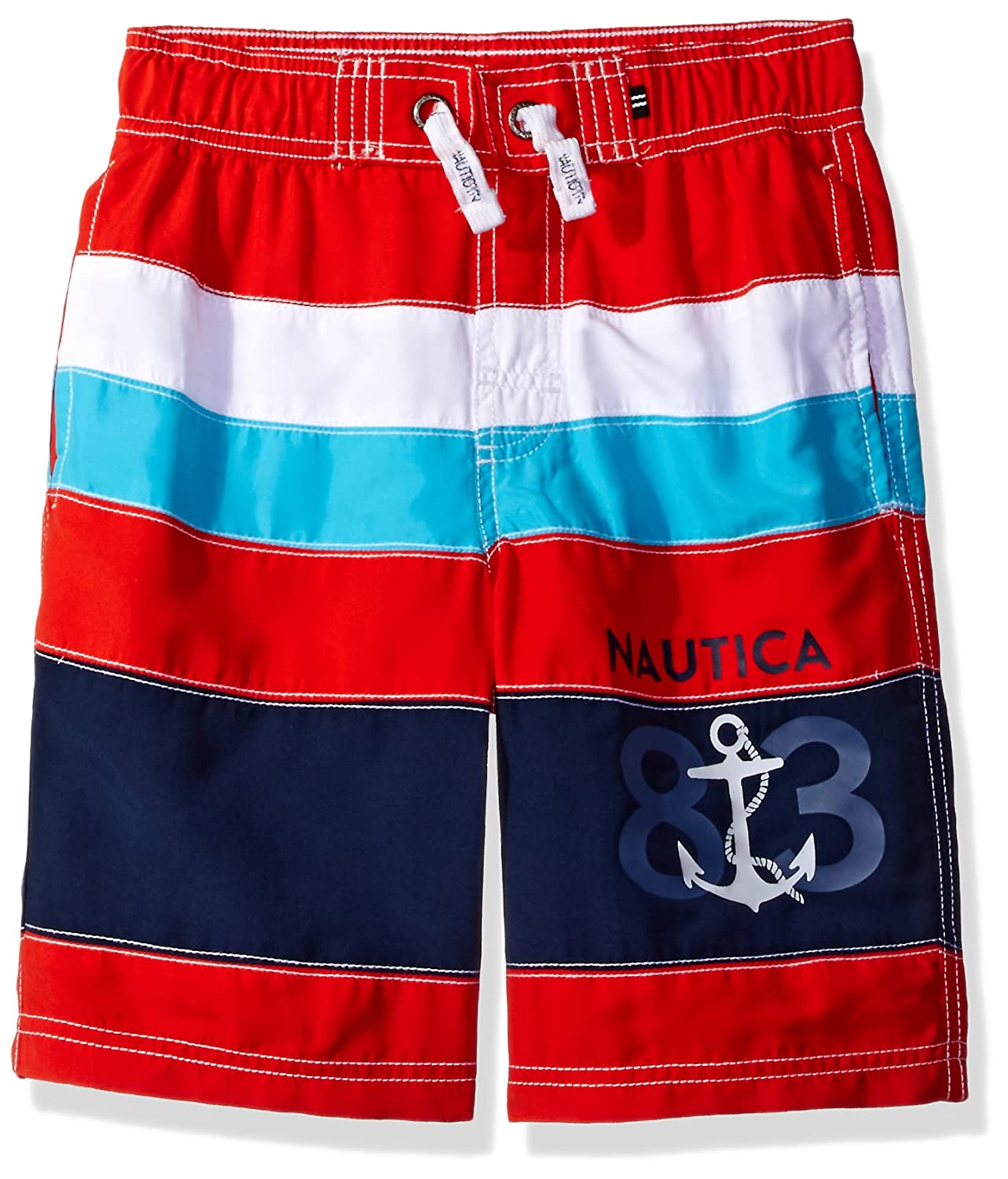 Nautica Boys Color Block Swim Trunk Scarlet Extra Large (7X) N468205Q