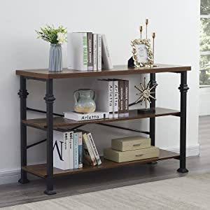 Hombazaar 3-Tier Console Sofa Table with Storage Shelves,Modern Industrial Entryway Table for Living Room,Hallway Entrance, 47.2 inches Long,Brown