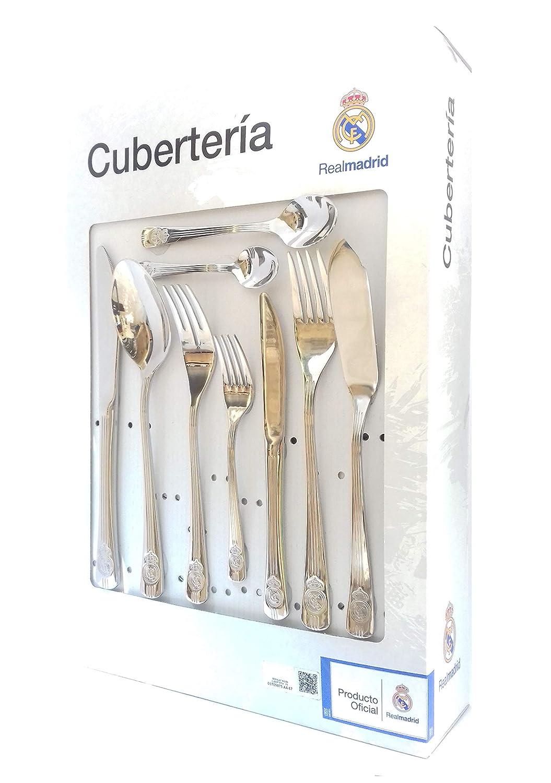 Cubertería Real Madrid - Set de 54 piezas cubiertos en acero inoxidable y calidad 18/10.