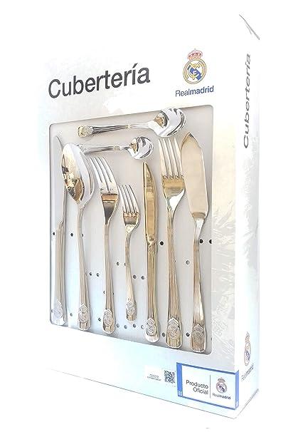 Cubertería Real Madrid - Set de 54 piezas cubiertos en acero inoxidable y calidad 18/