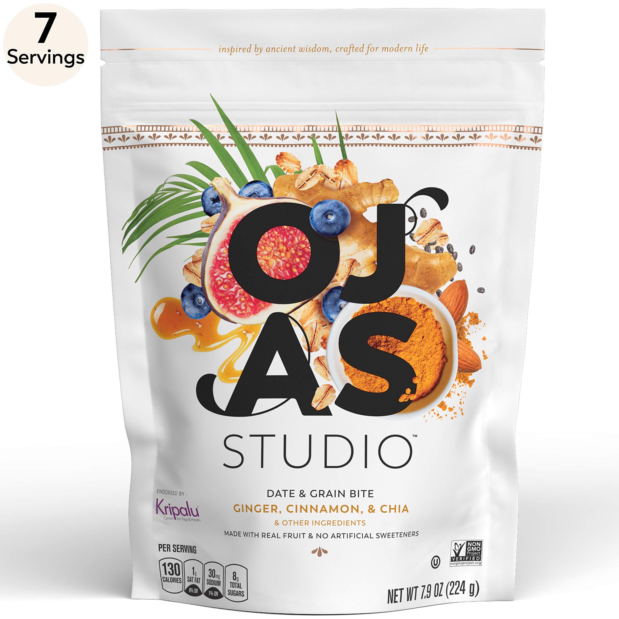 OJAS STUDIO Date & Grain Energy Bites, Ginger Cinnamon & Chia, 7-serving resealable bag, 7.9oz, non-GMO, no artificial sweeteners by Ojas Studio