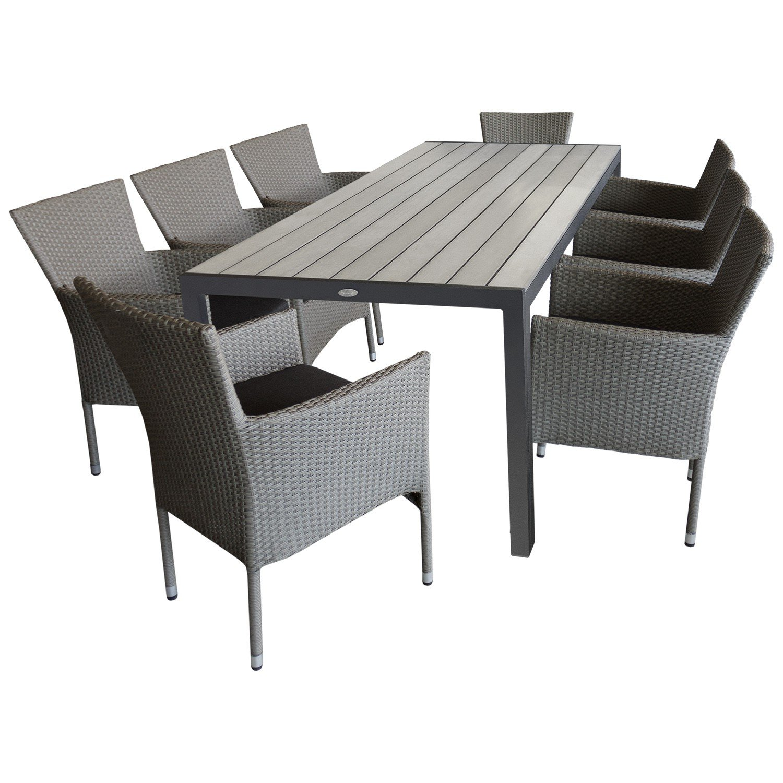 Sitzgruppe Gartengarnitur Gartenmöbel Terrassenmöbel Set U2013 Gartentisch,  205x90cm, Polywood Tischplatte Grau + 8x Gartensessel, Poly Rattan,  Stapelbar, ...