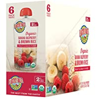 Earth's Best Organic Stage 2 Baby Food, Banana Raspberry and Brown Rice, 4.2 oz. Pouch (Pack of 12)