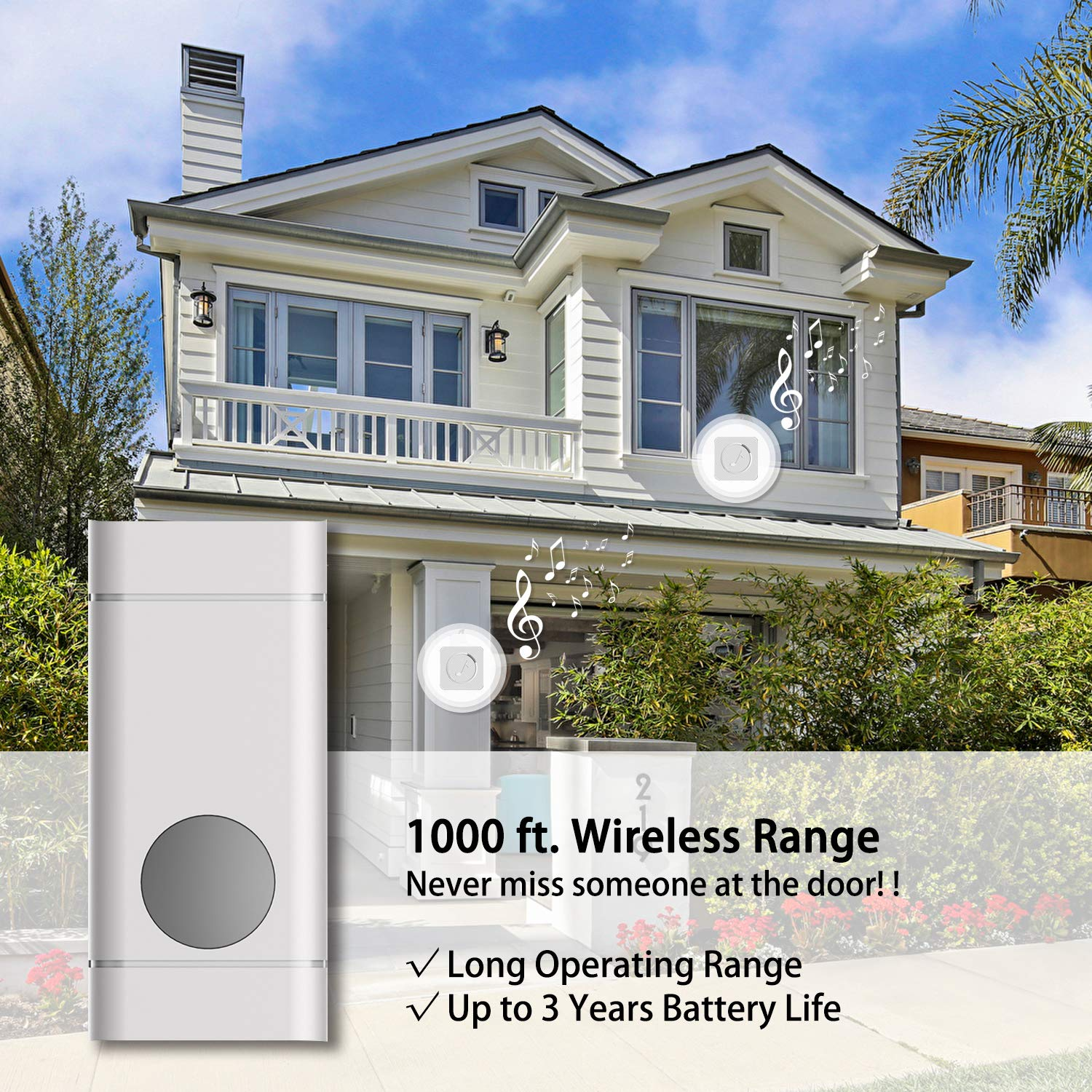 Adjustable Volume and LED Flash Wireless Doorbell,Kulon Mini Waterpoof Door Bell 1 Remote Buttons,Easy Install Range Over 1000-feet 52 USA Chimes