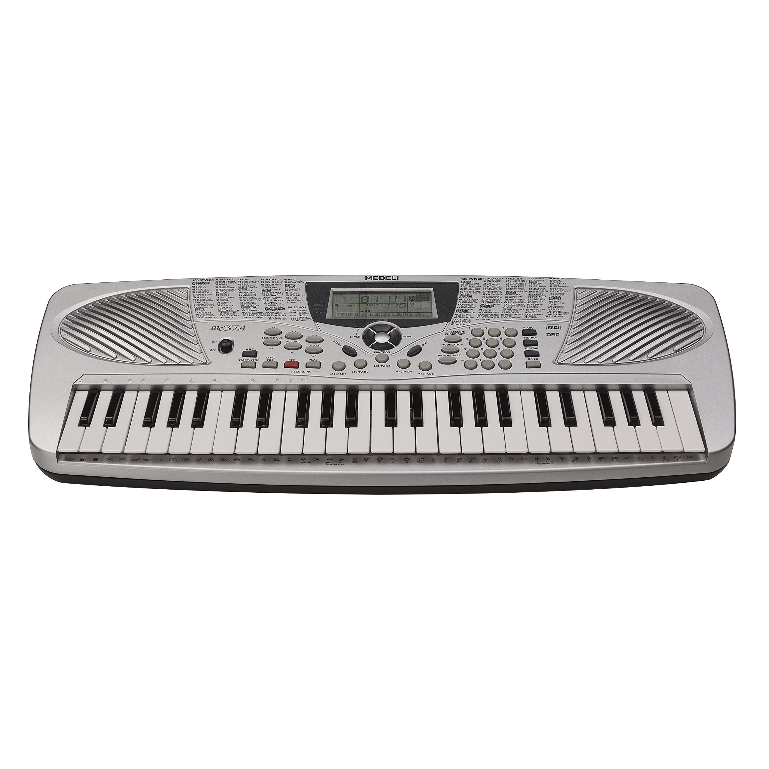 Medeli MC37A 49-Key Portable Keyboard with 132 Voices & USB I/O