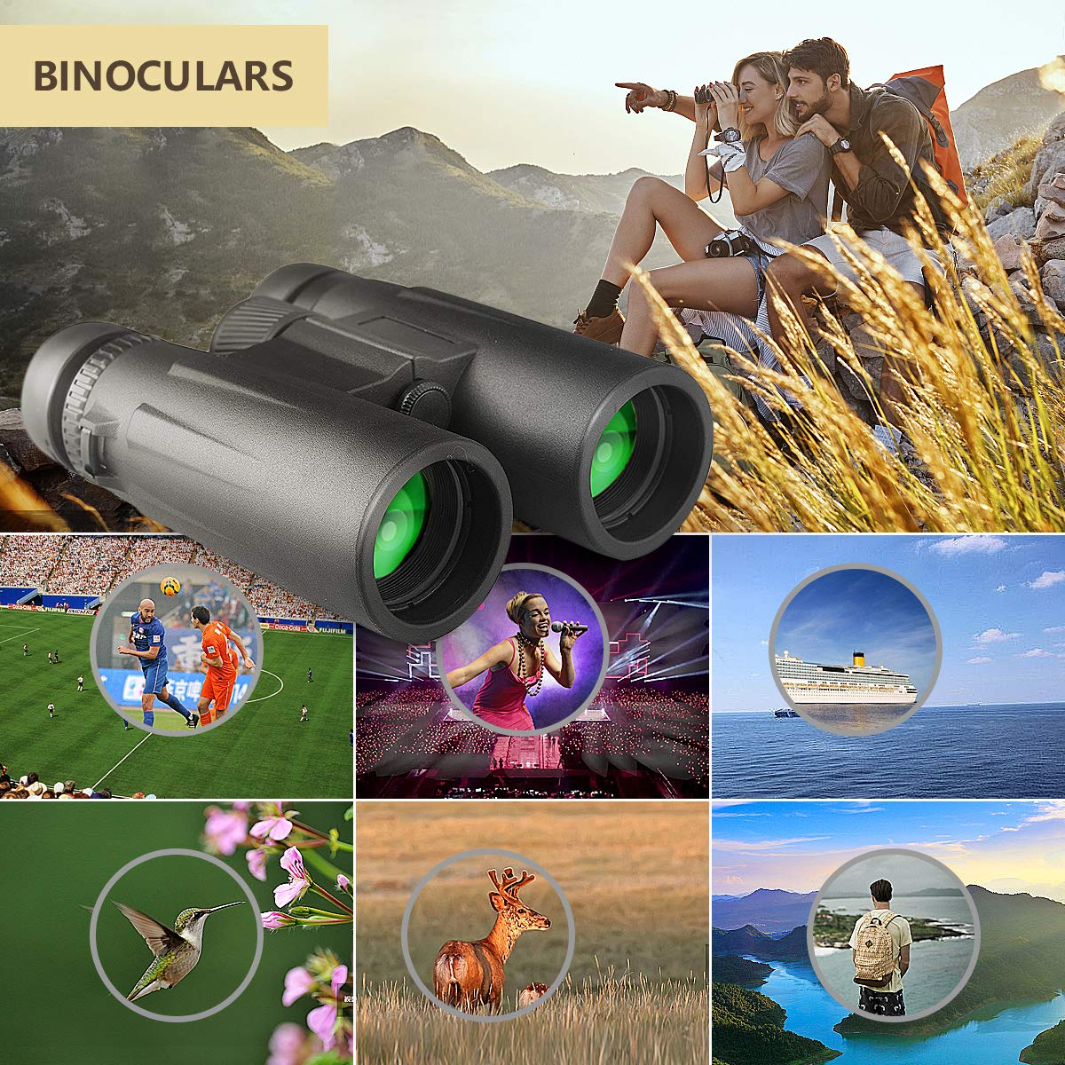 12X42 Roof Prism Binoculars Waterproof Professional HD Binoculars with Low Light Night Vision FMC Lens & Carrying Bag Strap Compact Adults BAK4 Binocular for Travel Birds Watching Hunting Concerts