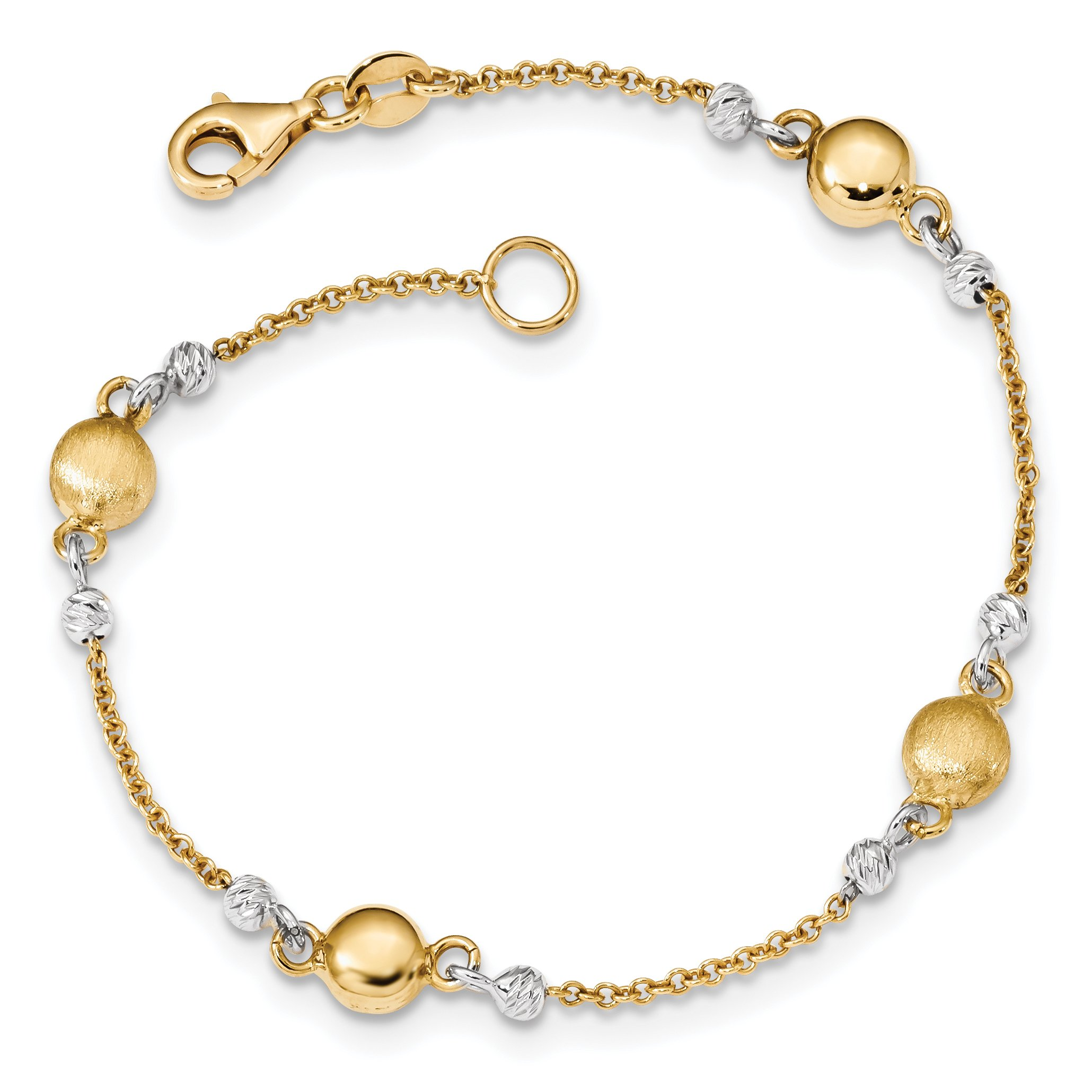 ICE CARATS 14k Two Tone Yellow Gold Textured Beaded 7.5 Inch Bracelet Fancy Bead Beadsed Fine Jewelry Gift Set For Women Heart