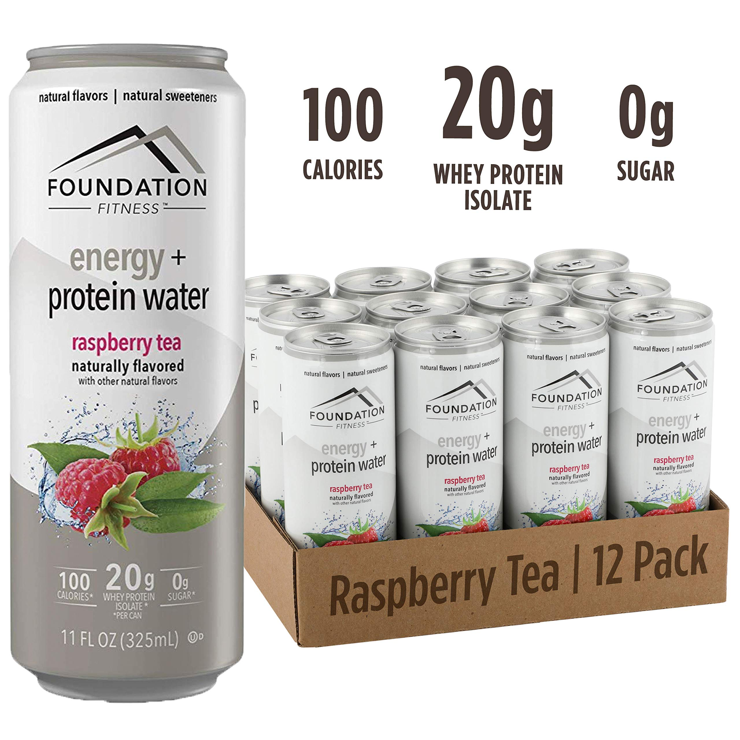 Foundation Fitness Energy & Protein Water, Raspberry Tea, Ready to Drink, 20g Protein, Natural Flavors & Sweetener, 0g Sugar, 11 fl oz, (Pack of 12)