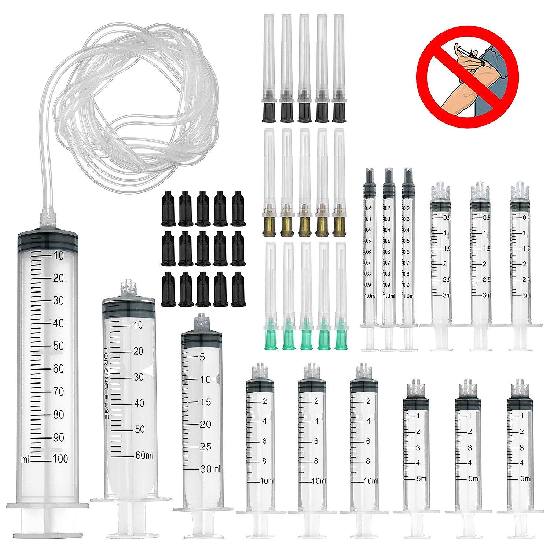 Seringue avec aiguille à pointe émoussée et tubes en silicone -100ml, 60ml, 30ml, 10ml, 5ml, 3ml, 1ml seringues avec 1,5en Blunt Aiguilles 14ga 16GA 18ga–&nb