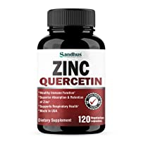 Zinc with Quercetin Seasonal Allergy Relief Best Quercetin Zinc Vitamin Supplements for Immune Support, Cardiovascular Health Support 120 Veggi Capsules- Made in USA