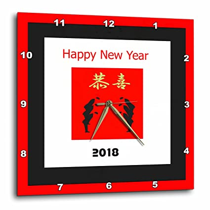 3drose chinese new year image of happy 2018 with heavy red and black borders and