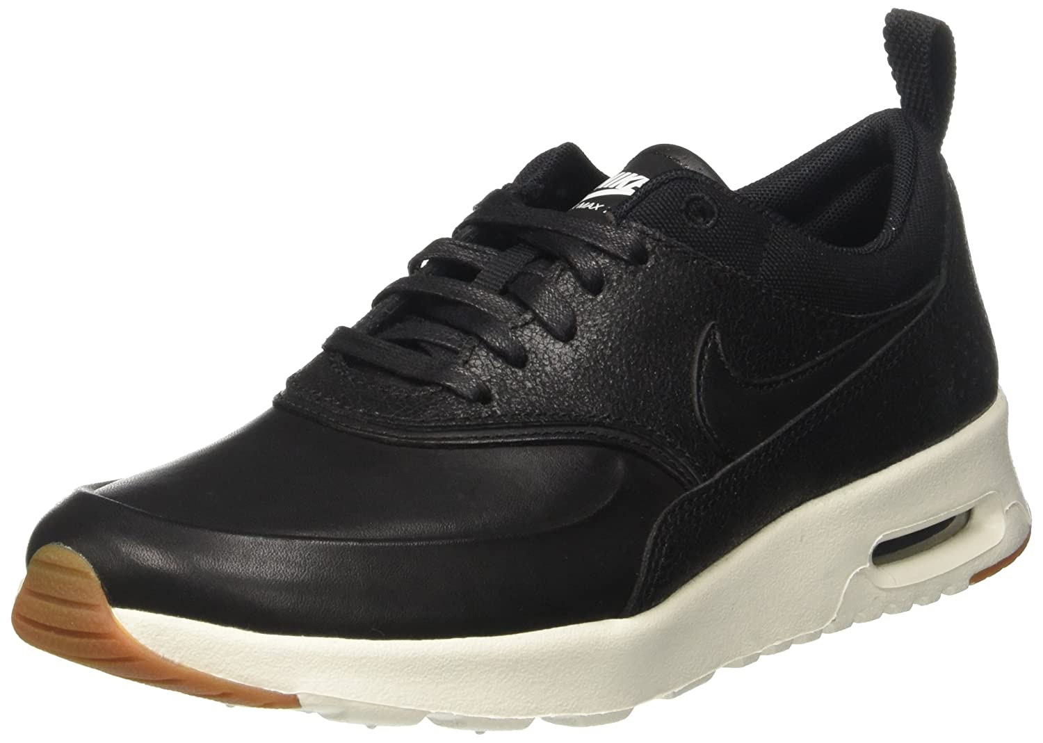 Nike Womens Air Max Thea PRM Low Top Lace Up Running Sneaker, Black, Size 7.5 3W