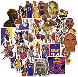 50 Pcs Kobe Stickers Vinyl Waterproof Laptop Decal Stickers for NBA Lakers Fans Collectors
