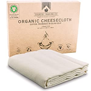 Cheesecloth for Straining - Certified Organic Cotton - Fine Reusable Unbleached Cooking Filter - Superior to Nylon or 90 Grade (18 Sq Feet)