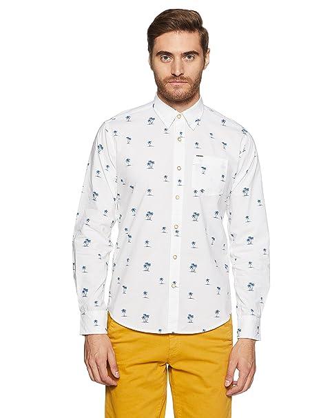 d4452045e1 Pepe Jeans Men s Printed Regular Fit Casual Shirt (PM305518 White Medium)