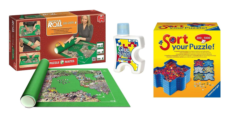 Tapete universal para transportar/guardar puzzles + Pegamento/conserver + Bandejas portapiezas: Amazon.es: Juguetes y juegos