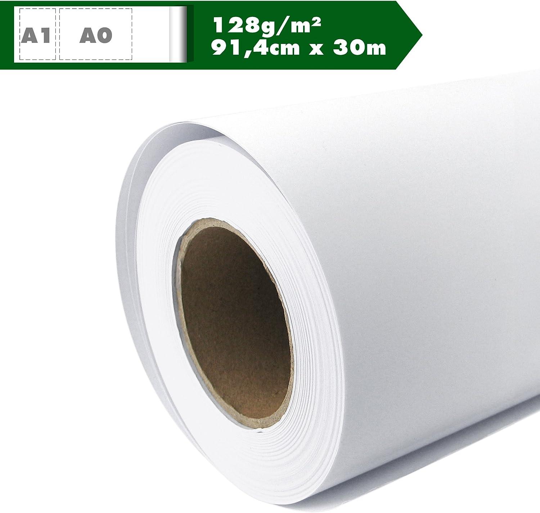 Rollo de papel para plotter Inkjet Mate 128 g/m², 91,4 cm x 30 m A0 A1 gestrichenes Papel universal impermeable, adecuado para tintas de colores y pigmento: Amazon.es: Oficina y papelería