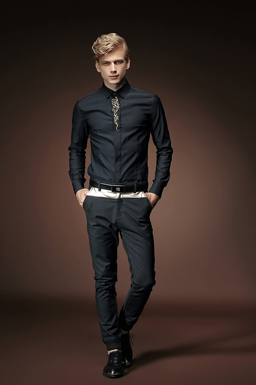 acbe128ad8ac8 FANZHUAN Camisa Hombre Manga Larga Floreada Camisa Traje Bordado Slim Fit   Amazon.es  Ropa y accesorios