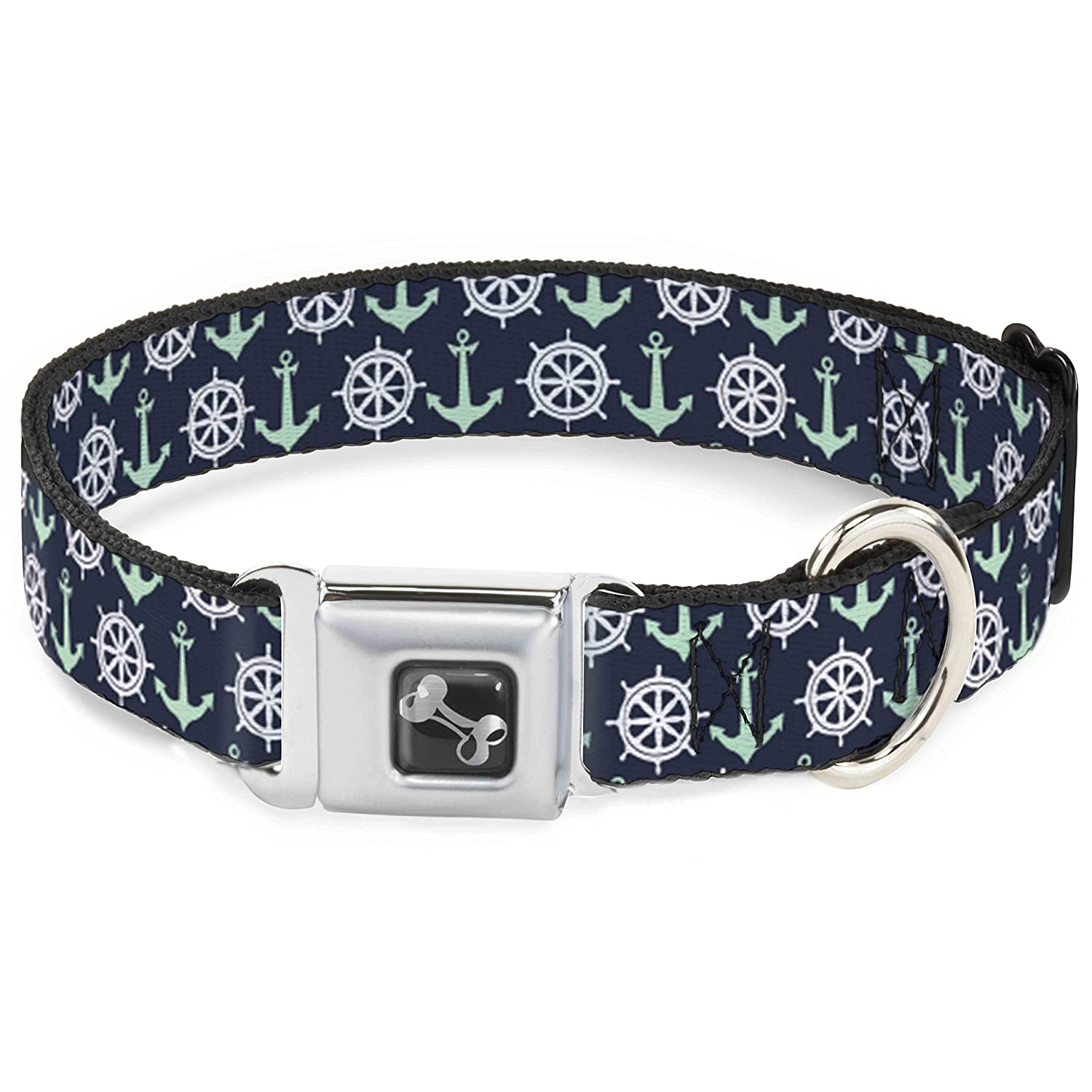 Buckle-Down DC-W30181-WS Anchor2 Helm Monogram Navy Turquoise White Seatbelt Dog Collar, Small