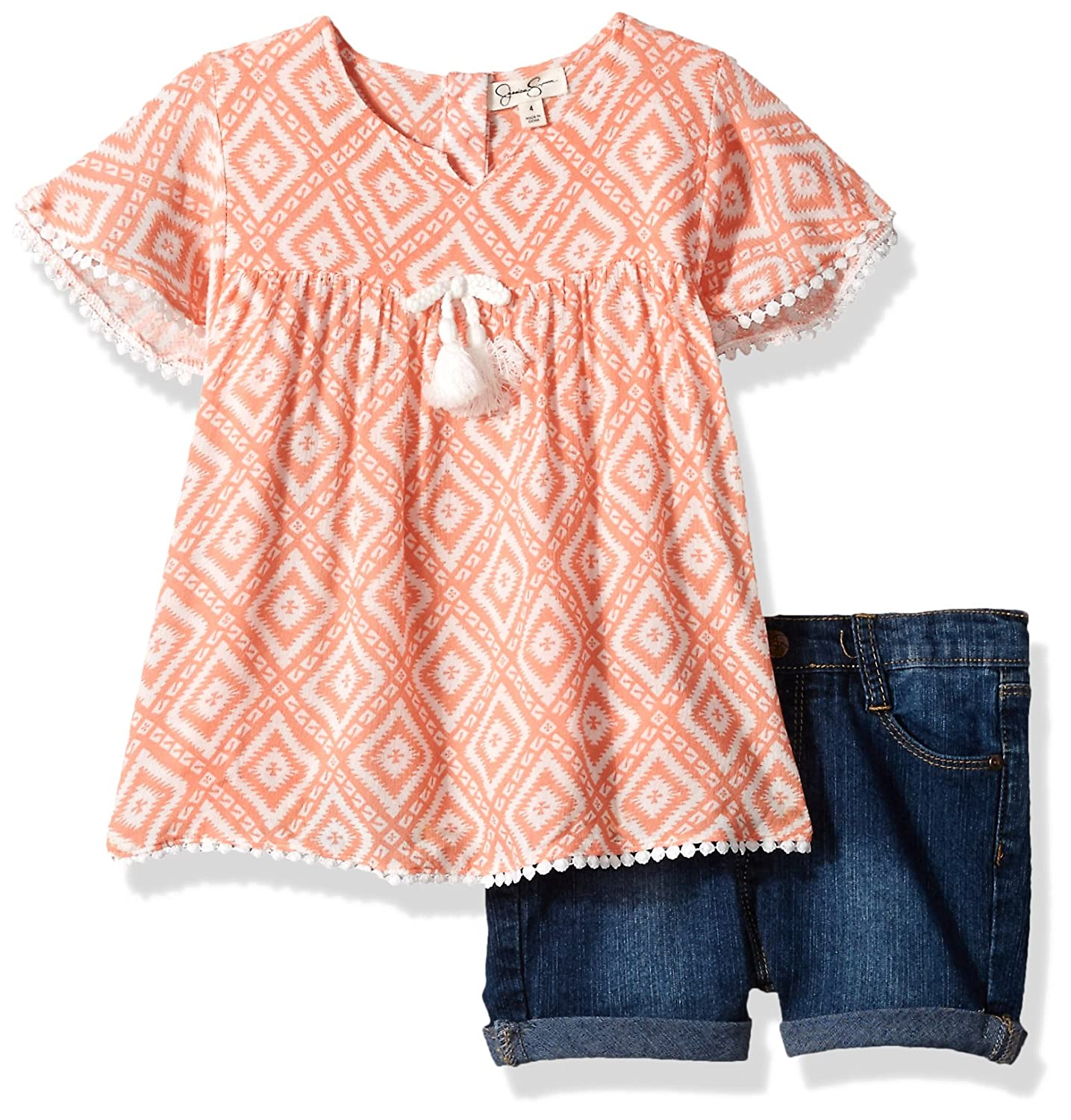 Jessica Simpson Girls' Printed Crinkle Top and Roll-Cuff Short Peach Amber 4 Jessica Simpson Childrens Apparel Child Code JSGX3150-PAP-4