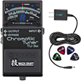 Boss TU-3W Waza Craft Chromatic Tuner - INCLUDES - Blucoil Power Supply Slim AC/DC Adapter for 9 Volt DC 670mA AND 4 Pack of Guitar Picks