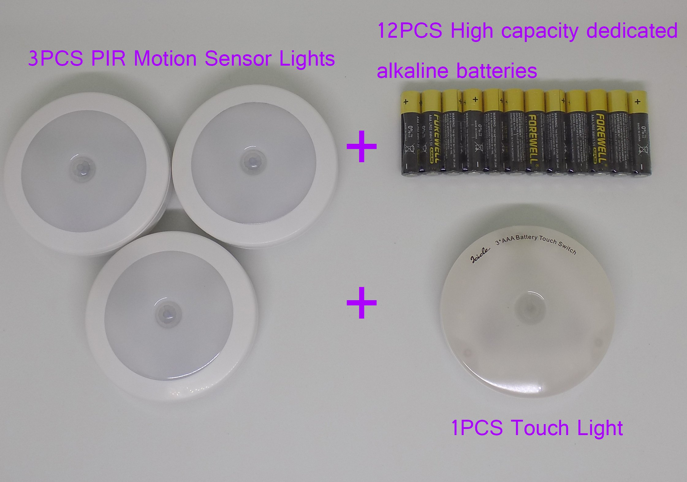 Light control PIR human sensor light 3PCS plus 1PCS touch control lights (total 4 lights), increase the supporting 12PCS high capacity 1200mAH alkaline batterie (White),Real shot picture