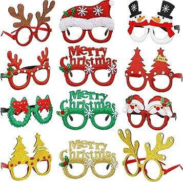 9 Paar Weihnachten Brillen Rahmen Weihnachten Neuheit Brille Funkeln Party Kost/üm Brille f/ür Weihnachten Party Dekoration