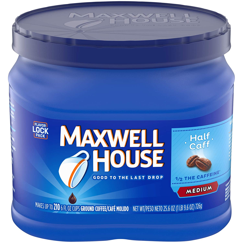 Maxwell House Half Caffeine Ground Coffee (25.6 oz Canister)