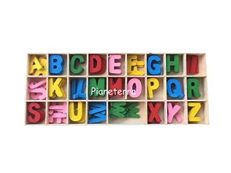 Lettere Di Legno Colorate : Lettere in legno alfabeto maiuscolo colorato mm pz