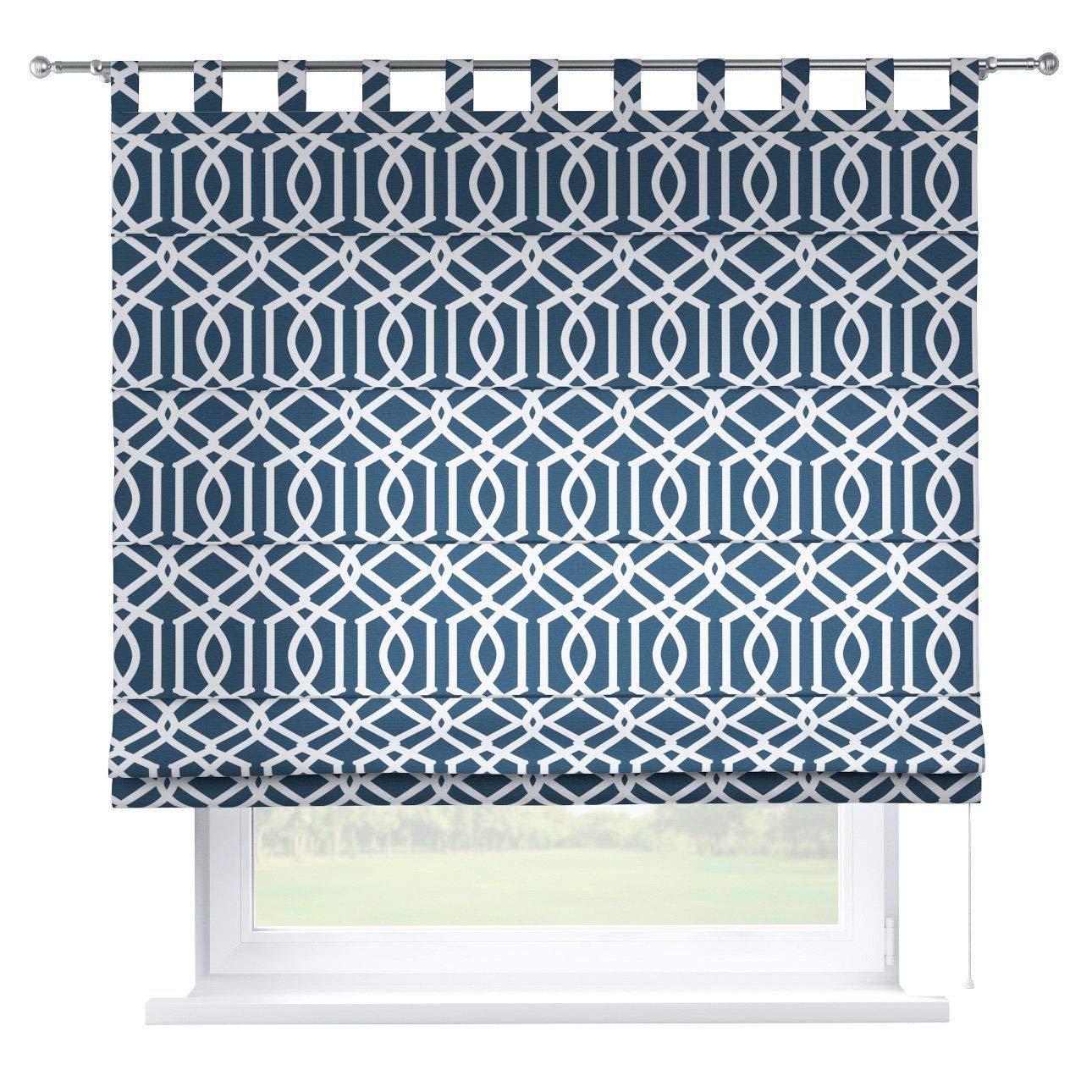Dekoria Raffrollo Verona ohne Bohren Blickdicht Faltvorhang Raffgardine Wohnzimmer Schlafzimmer Kinderzimmer 160 × 170 cm dunkelblau Raffrollos auf Maß maßanfertigung möglich
