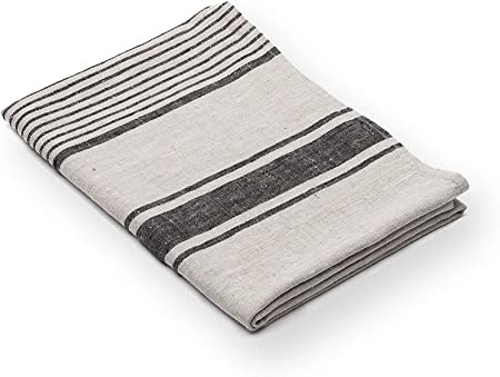 Linenme Provance Serviette de bain en lin Noir