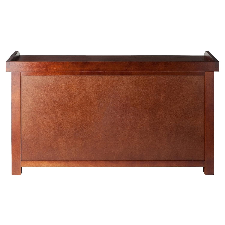 Amazon.com: Winsome Wood MilanWood Storage Bench in Antique Walnut Finish  with Storage Shelf and 3 Rattan Baskets in Antique Walnut Finish: Kitchen &  Dining