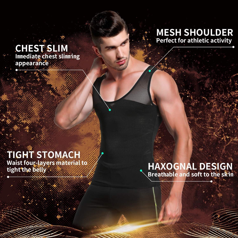 Mens Slimming Body Shaper Vest Chest Compression Tank Top Abs Abdomen Undershirt
