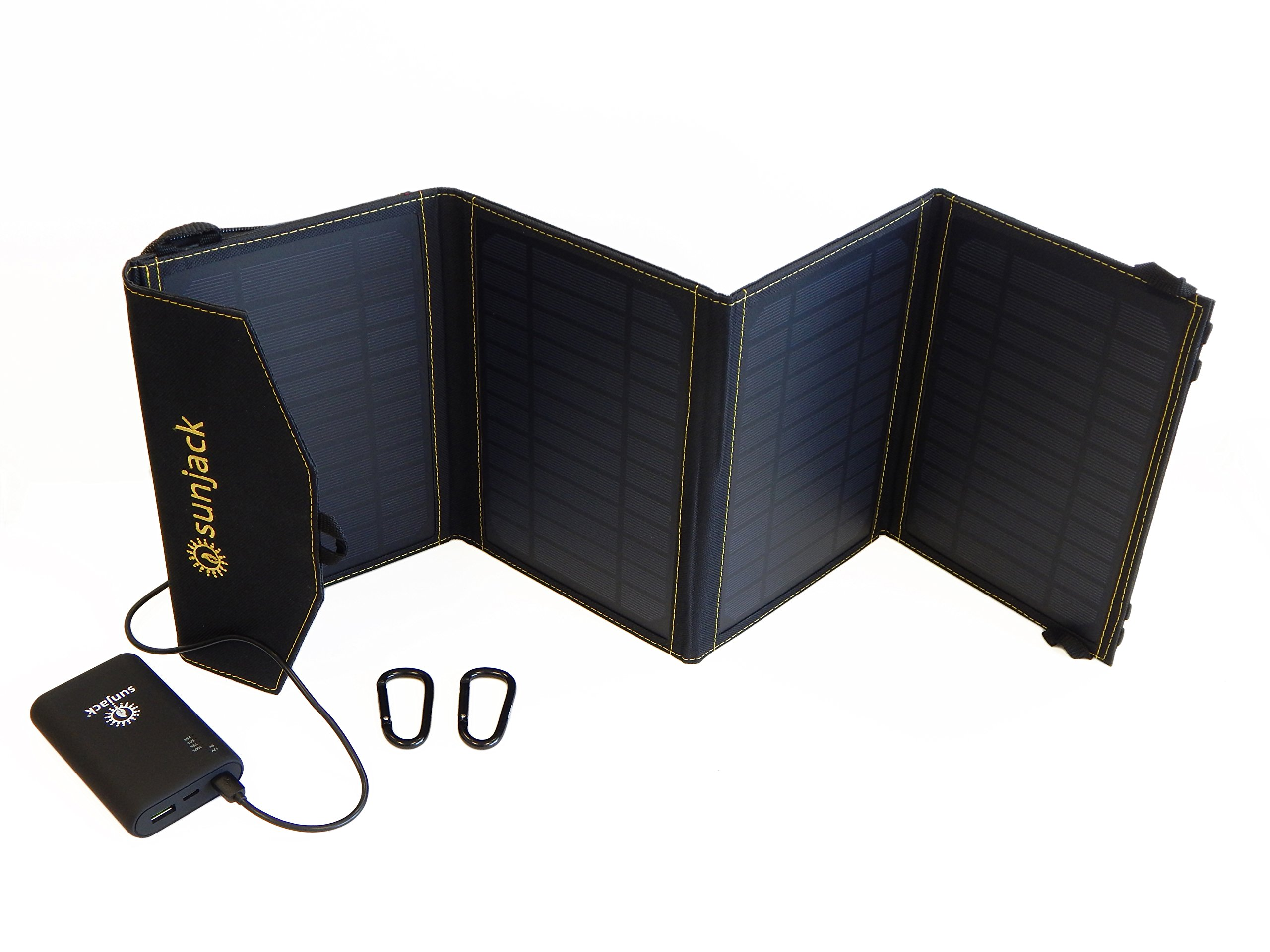 SunJack 14W Solar Charger + 10000mAh QC 3.0 Power Banks - Portable Solar Panel with USB for Cell Phones, iPad Battery, Backpacking, Camping, Hiking