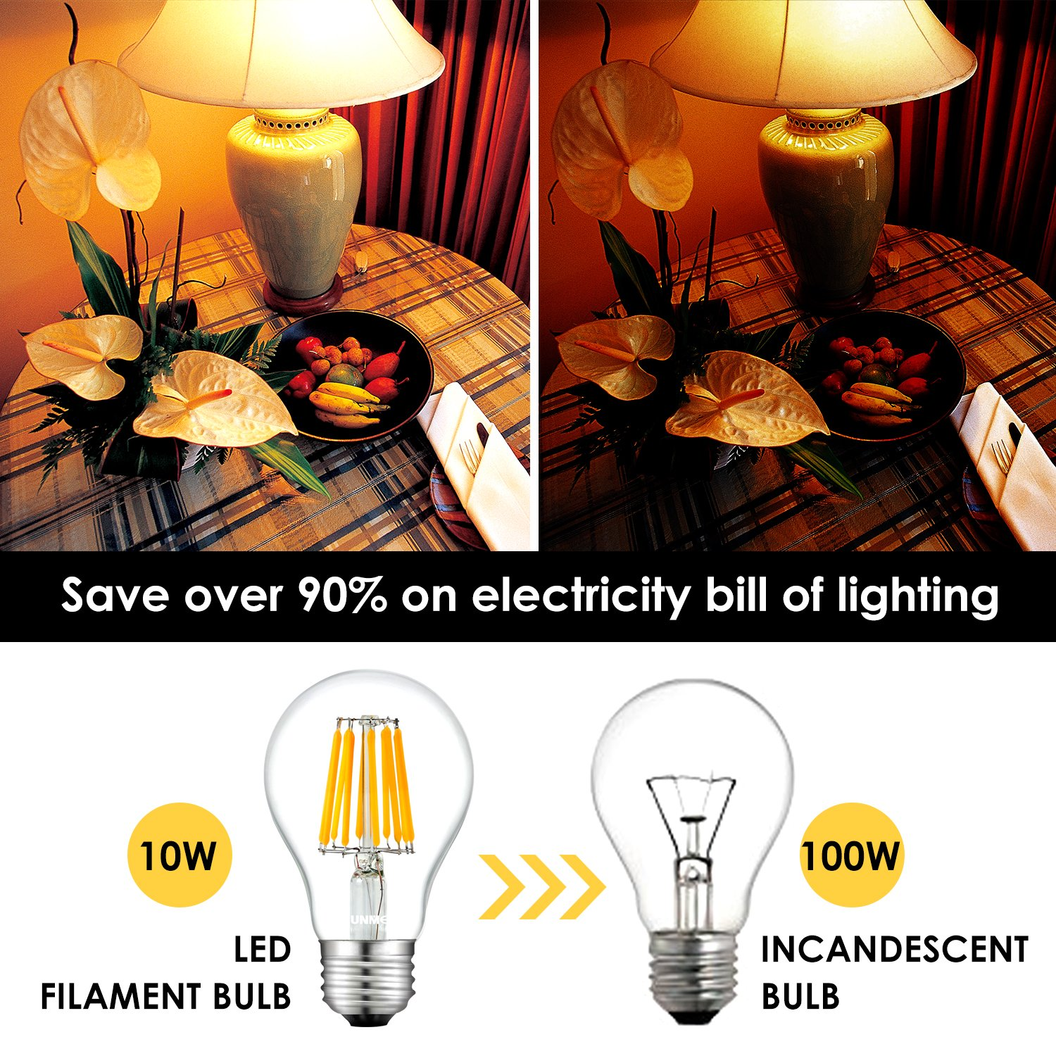 Sunmeg A19 Led Clear Edison Style Filament Replacement To 100w Light Dimmer Circuit Electronic Circuits Incandescent Bulbs 1000 Lumens E26 Medium Base Bulb Warm White 2700k 120vac