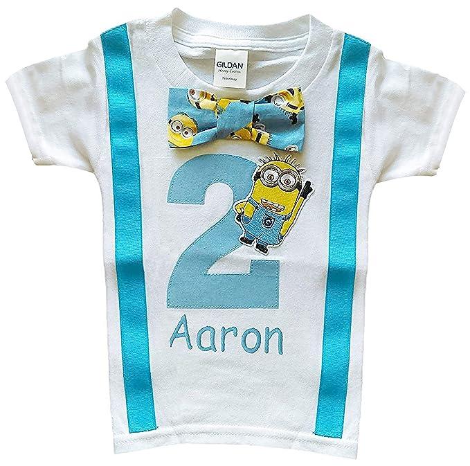 Amazon.com: 2 nd cumpleaños niños Minions Tee – Camiseta ...