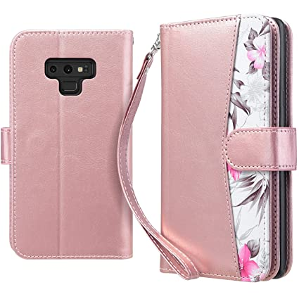 coque portefeuille aimantee samsung note 9 rose cuir
