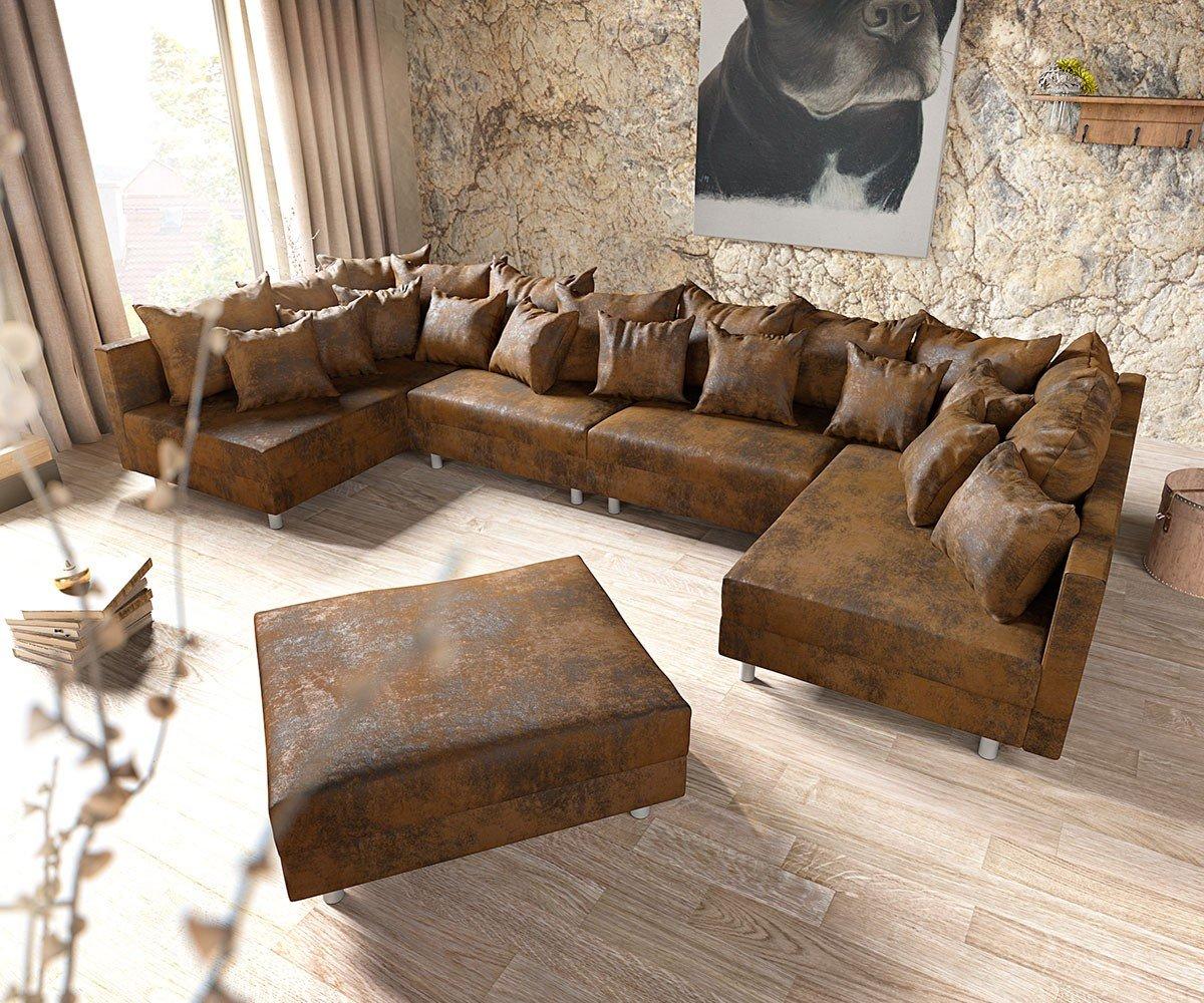 Couch Clovis Xl Braun Antik Optik Mit Hocker Wohnlandschaft Modules