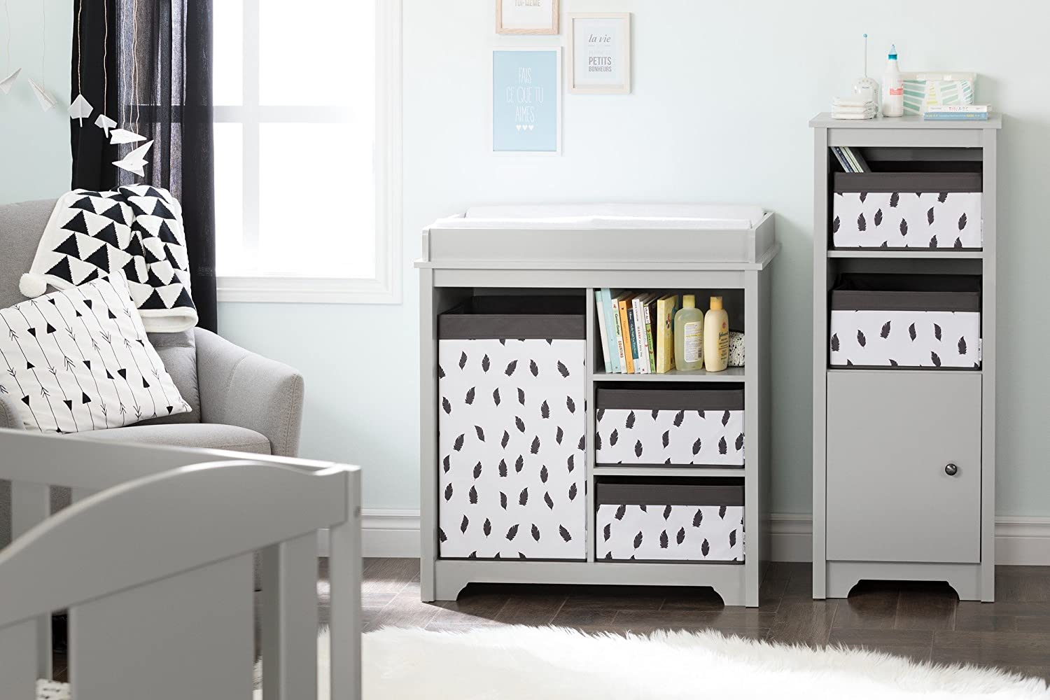 South Shore Furniture 100213 Storit Laundry Hamper Feathers Print White//Grey
