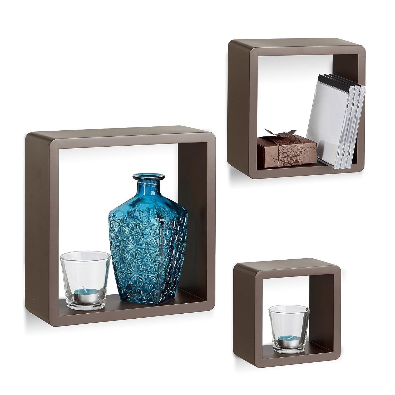 Decorative Relaxdays 10021792/_49 Set 3 Mensole da Parete Cube per il Soggiorno Forma Quadrata Bianco