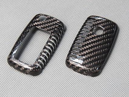 Carcasa de piel de carbono real con cubierta de llave remota Funda de piel para VW Seat Skoda