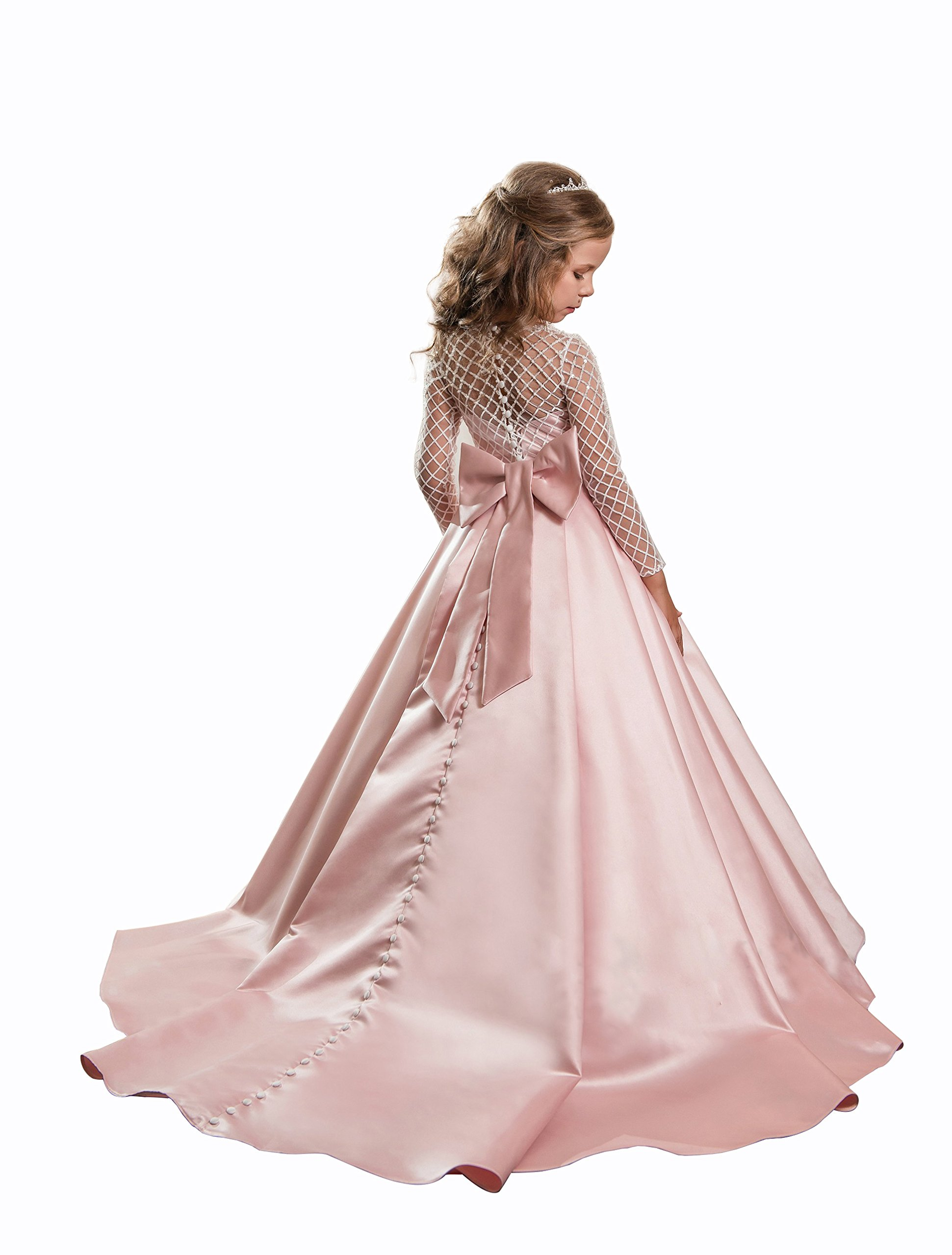 Christmas Flower Girl Dress Floor Length Button Draped Tulle Ball Gowns for Kids Size 8 by Abaowedding (Image #2)